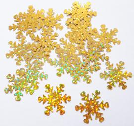 Zakje pailletten sneeuwvlokken klein goud 17 stuks Ø 2,5 cm