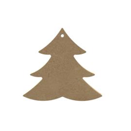 Gomille MDF Kerstboom 10,5 x 9,8 cm dikte 5 mm met ophangoog