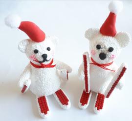Foam/Silk Clay (klei) pakket 3 ijsberen op skiën ongeveer 9,5 cm hoog
