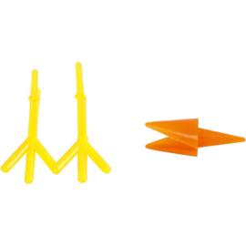 Deco (Foam/Silk Clay) kippen snavels en poten oranje/geel 8 setjes