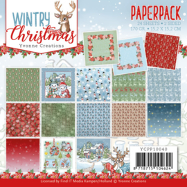 Yvonne Creations Paperpack Wintry Christmas YCPP10040 24 vellen