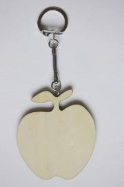 Sleutelhanger hout triplex appel 6,6 x 5,8 cm, dikte 3 mm