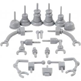Robot onderdelen grijs plastic Foam & Silk Clay 19 stuks 0,5 tot 6 cm