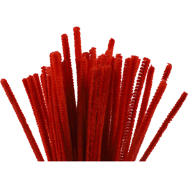 Deco chenille draad rood 50 stuks dikte 6 mm lengte 30 cm
