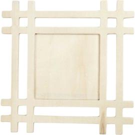 Plywood houten triplex lijst 17,3 x 17,3 cm binnenmaat 8,7 x 8,7 cm