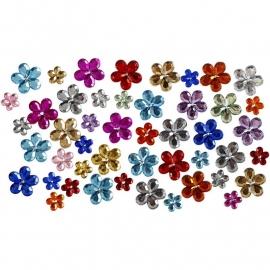 Strasstenen bloemen assorti gekleurd 66 stuks 6, 10 en 12 mm