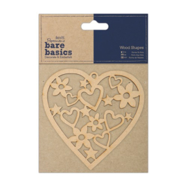 Docrafts Papermania bare basics wood shape heart (hart) PMA 174609
