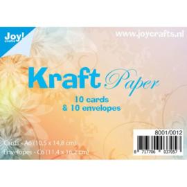 Joy!Crafts 10 Kraftkaarten en 10 Kraftenveloppen bruin 8001/0012
