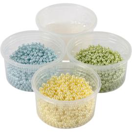 Pearl Clay 3 x 25 gram pearls lichtgeel, lichtgroen, lichtblauw en 38 gram gel