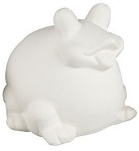 Spaarpot kikker van wit terracotta 8,5 x 8 x 8,5 cm