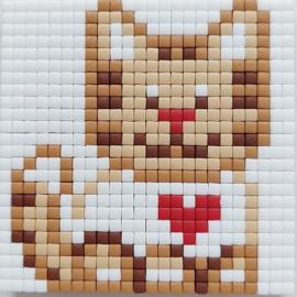Zelfgemaakte Pixelhobby magneet kitten 6 x 6 cm