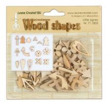 Leane Creatief Wood shapes Little signes (kleine vormpjes) 48 stuks LCR71.833
