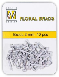 Nellie Snellen glitter brads (splitpen) FLP-GB 002 white (wit) 3 mm 40 stuks