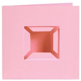 Kaarten passe-partout dubbele ril voorkant roze 4 stuks