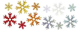 Zakje pailletten sneeuwvlokken assorti 60 stuks 12 gram
