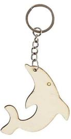 Sleutelhanger hout triplex dolfijn 6,2 x 5,5 cm dikte 3 mm