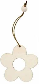 Houten decoratie bloem 6 cm dikte 3 mm met jute ophanglus en houten kraal