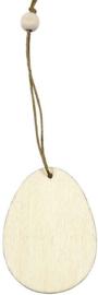 Houten decoratie ei 6 cm dikte 3 mm met jute ophanglus en houten kraal