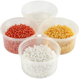 Pearl Clay 3 x 25 gram pearls Pasen geel, wit, oranje en 38 gram gel