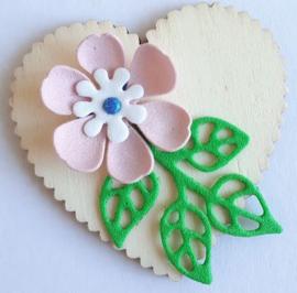 Houten hart 5,1 x 5,1 cm (1) met roze/wit foam bloemetje
