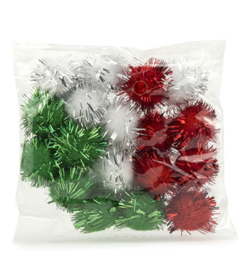 Hobby & Crafting Fun pompom Kerst glitter set 18 stuks assorti 12233-3331