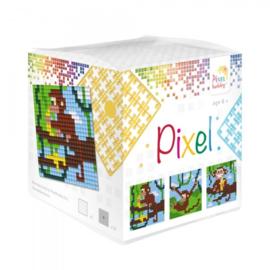 Pixelhobby Pixel mosaic kubussetje aapjes 6,2 x 6,2 cm