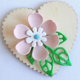 Houten hart 5,1 x 5,1 cm dikte 1 mm met roze/wit foam bloemetje