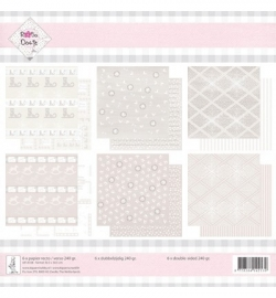 Rosa Dotje Kerst roze/bruin dubbelzijdig bedrukt 6 vellen 30,5 x 30,5 cm
