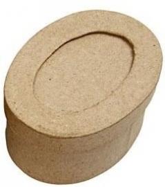 Passepartout papier-mâché doos ovaal 8,8 x 6,2 x 4 cm