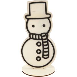 Made of Wood houten sneeuwpop met standaard 9,5 x 18,5 cm dikte 3 mm