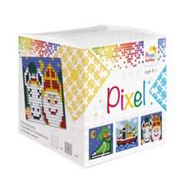 Pixelhobby Pixel mosaic kubussetje Sinterklaas 6,2 x 6,2 cm