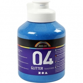 A' Color 04 glitter transparent acrylverf blauw fles 500 ml