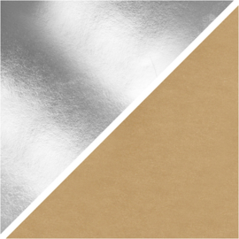 Faux Leather papier zilver 350g/m2 breed 50 cm 1 meter