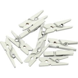 Houten mini wasknijpers wit geverfd 2,5 x 0,3 cm 36 stuks