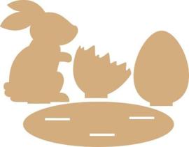 Joy!Crafts MDF Pasen konijn en eieren 6200/0158