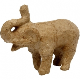 Handgemaakte olifant massief van papier-mâché 13 x 5 x 9,5 cm