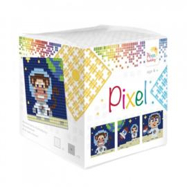 Pixelhobby Pixel mosaic kubussetje op de maan 6,2 x 6,2 cm