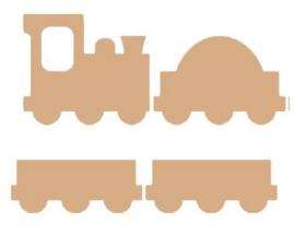 MDF ornament treinen assorti 4 stuks