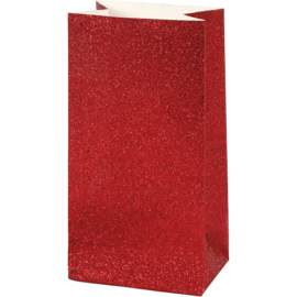 Vivi Gade Design papieren zakken glitter rood 8 stuks 150 grams 17 x 6  x 9 cm