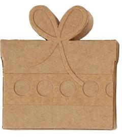 Cadeau van bruin papier-mâché 9,8 x 2 x 10,5 cm