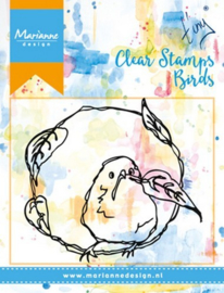 Marianne Design Clear Stempel Birds & Leaves 7,5 x 6,8 cm MM1610