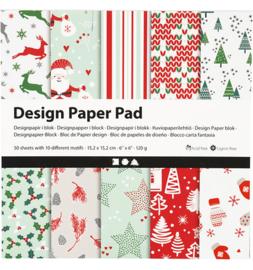 Design Paper Pad (papierblok) Kerst 50 vellen 15,2 x 15,2 cm