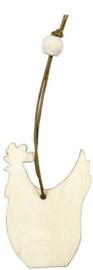 Houten decoratie kip 6 cm dikte 3 mm met jute ophanglus en houten kraal