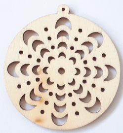 Made of Wood ornament van triplex Ø 5 cm 1 stuk dikte 2 mm