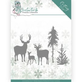 Yvonne Creations  Winter Time die (mal) Deers in the Forest YCD10217
