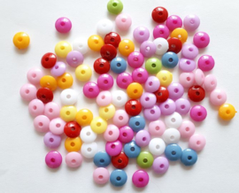 Colorful plastic kralen rond assorti 580 gram Ø 1,3 cm dikte 5 mm