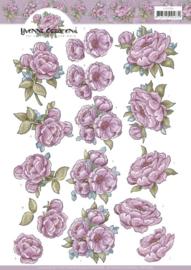 Yvonne Creations Pink Rose 3D knipvel A4 CD11598