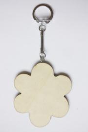 Sleutelhanger hout triplex bloem 6,6 cm, dikte 3 mm