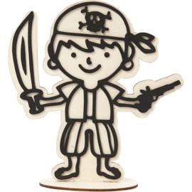 Made of Wood houten piraat met standaard 15,5 x 17 cm dikte 3 mm
