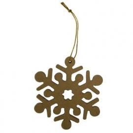 MDF sneeuwvlok met lintje Ø 9 cm dikte 5 mm